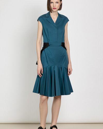 Хлопковое синее платье с поясом Vassa&co