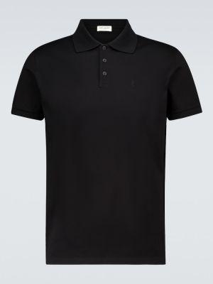 Bawełna czarny klasyczna koszula z haftem z kołnierzem Saint Laurent