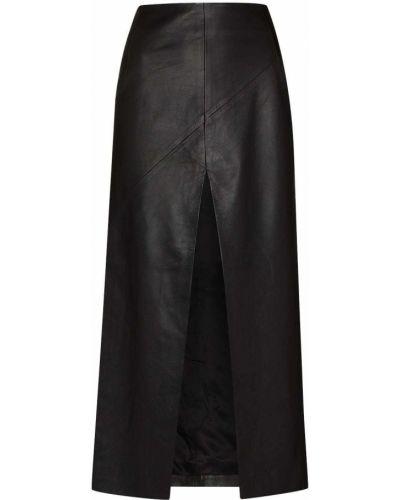 Черная кожаная юбка миди с разрезом Dodo Bar Or