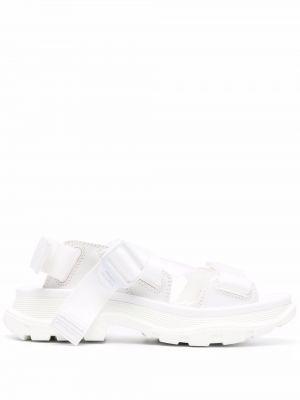 Sandały peep toe - białe Alexander Mcqueen