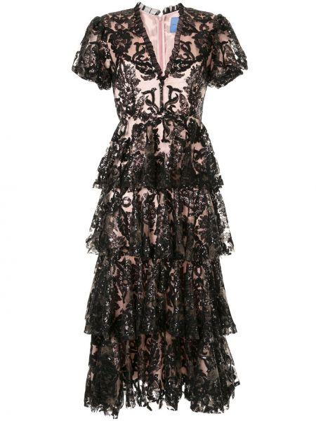 Шелковое платье миди - черное Macgraw