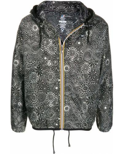 Czarny płaszcz przeciwdeszczowy z długimi rękawami z printem 10 Corso Como