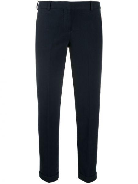 Хлопковые брючные синие укороченные брюки со складками Circolo 1901