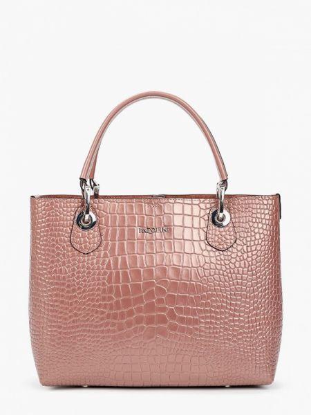Розовая кожаная сумка с камнями из натуральной кожи Pazolini