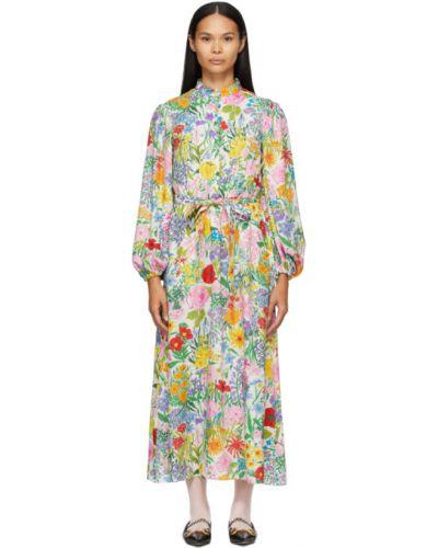 Шелковое белое платье макси в горошек Gucci