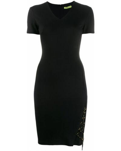 Приталенное прямое черное вечернее платье Versace Jeans