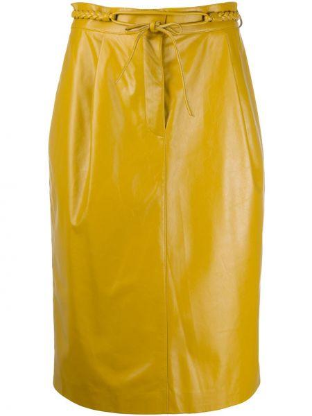 С завышенной талией желтая кожаная юбка миди Valentino