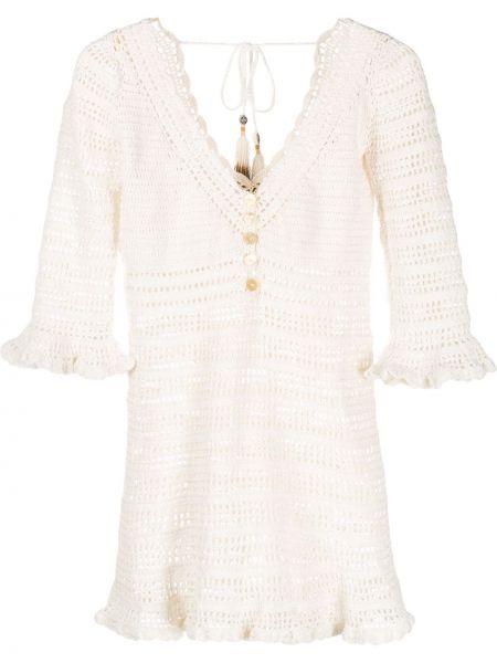 Белое нейлоновое платье на пуговицах с подкладкой She Made Me
