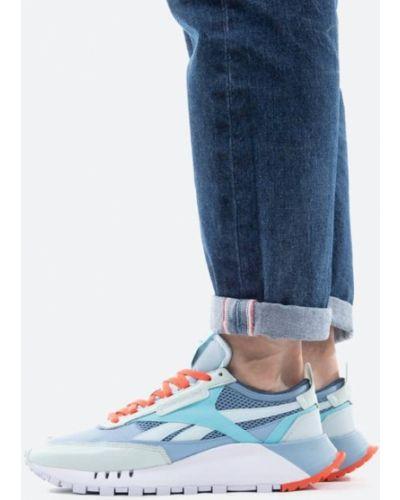 Синие кожаные кроссовки Reebok Classic