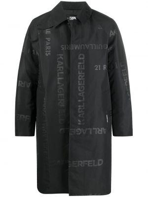 Klasyczny czarny płaszcz z długimi rękawami Karl Lagerfeld