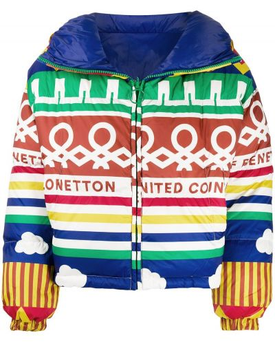 Куртка с капюшоном длинная леопардовая Benetton