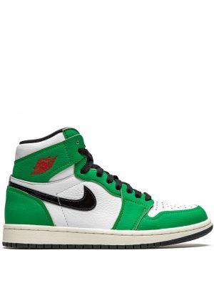 Кожаные белые высокие кроссовки на шнурках Jordan