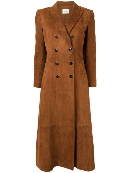Коричневое кожаное пальто двубортное Khaite