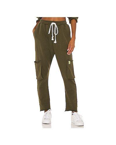 Хлопковые зеленые брюки карго с карманами One Teaspoon
