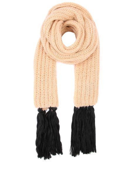 Вязаный желтый шарф вязаный из мохера с бахромой Chapurin