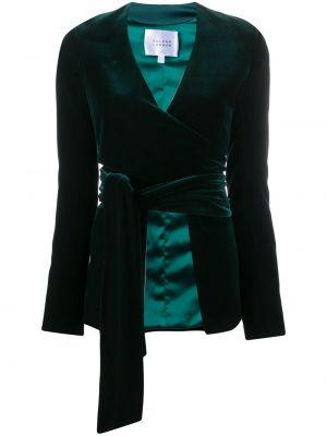 Satynowa zielona kurtka z długimi rękawami Galvan