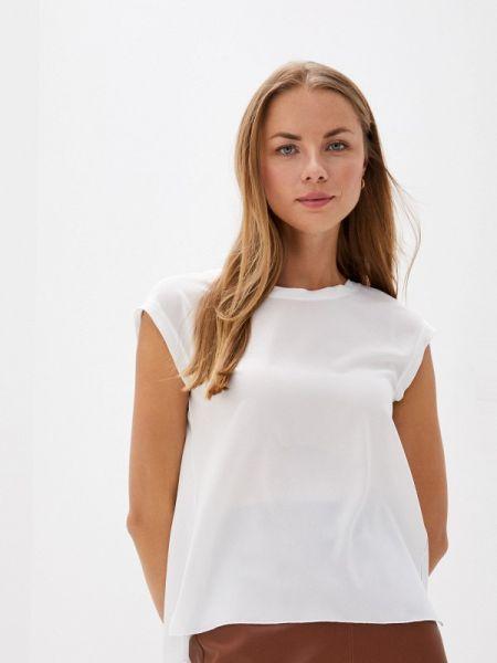 Белая блузка с коротким рукавом Арт-Деко