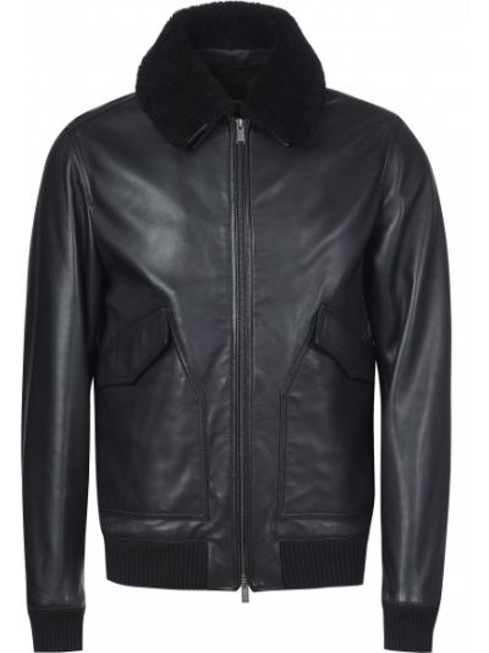 Кожаная куртка - черная Hugo Boss