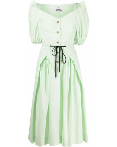 Зеленое платье миди с поясом с короткими рукавами Vivienne Westwood Anglomania