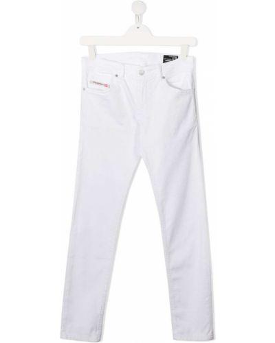 Кожаные белые джинсы классические с карманами Diesel Kids