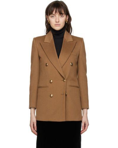 Черный удлиненный пиджак двубортный для полных Saint Laurent