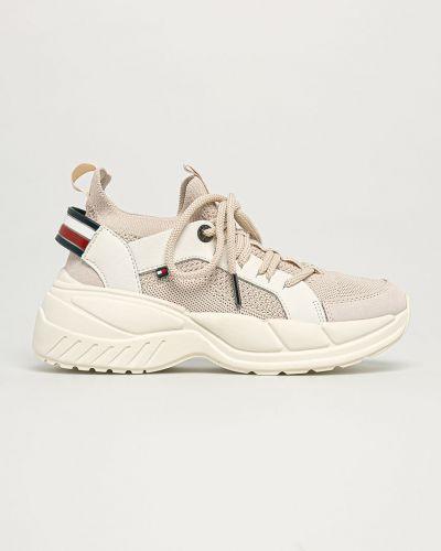 Beżowe sneakersy na platformie skorzane Tommy Hilfiger
