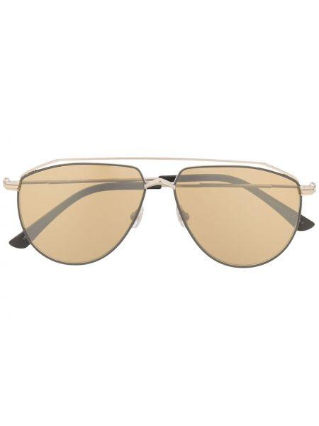 Золотистые желтые солнцезащитные очки металлические Jimmy Choo Eyewear