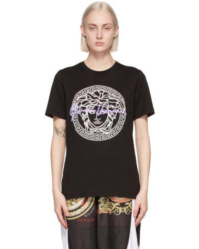 Трикотажная белая футболка с воротником Versace