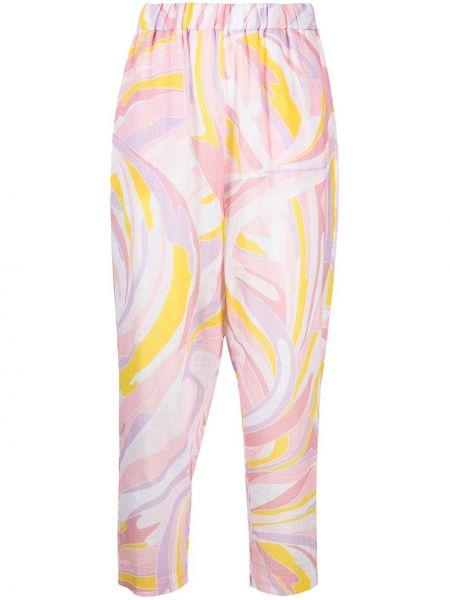 Розовые зауженные брюки с поясом Emilio Pucci