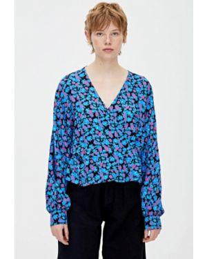 Блузка с длинным рукавом синяя Pull&bear