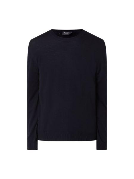 Prążkowany niebieski sweter wełniany Maerz Muenchen
