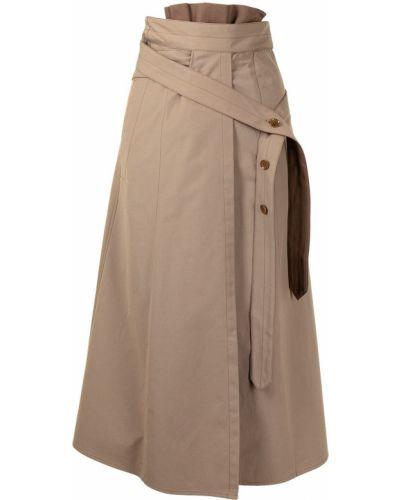 Spódnica ołówkowa bawełniana - brązowa Lemaire