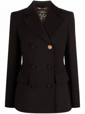 Черный шерстяной пиджак Versace