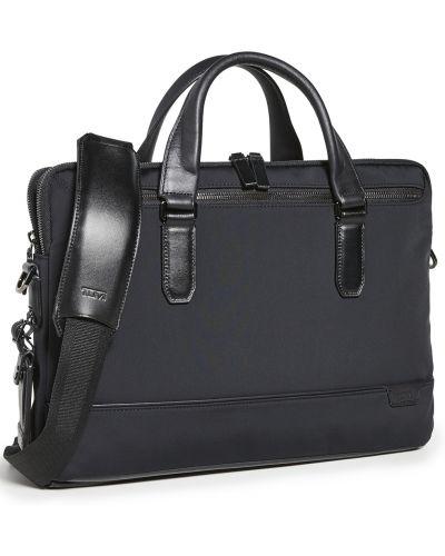 Черный кожаный портфель с карманами Tumi