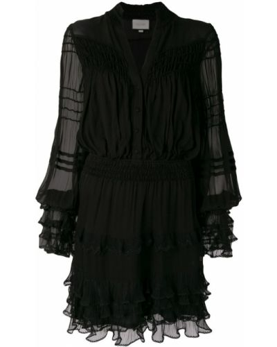 Платье с поясом на пуговицах с прозрачными рукавами Alexis