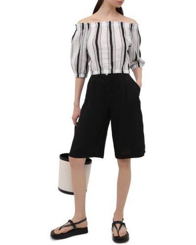 Льняные шорты - черные La Fabbrica Del Lino