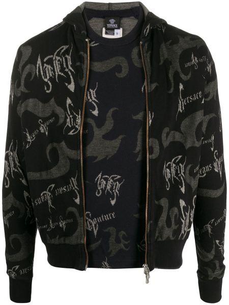Черная футболка узкого кроя на молнии с капюшоном Versace Pre-owned