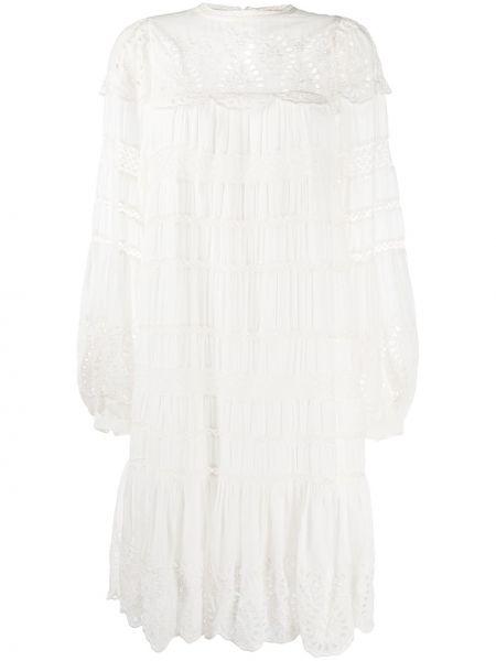 Платье с вышивкой на пуговицах с вырезом трапеция Sea