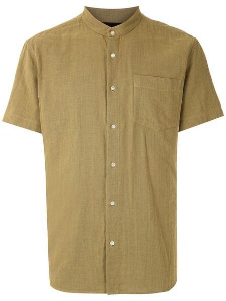 Зеленая прямая рубашка с коротким рукавом с воротником на пуговицах Osklen