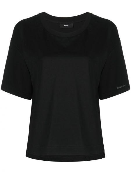 Прямая черная футболка с вырезом Diesel