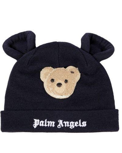 Шерстяная шапка бини - синяя Palm Angels Kids