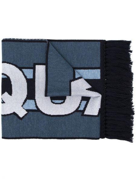 Wełniany niebieski szalik frędzlami Dsquared2