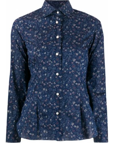 Синяя рубашка с воротником Barba
