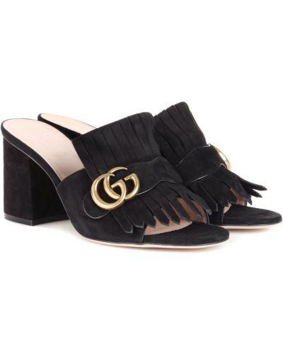 Czarne majtki skorzane Gucci