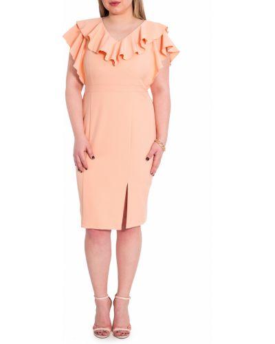 Платье с поясом персиковое на молнии Lacywear