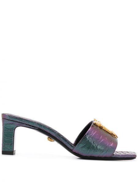 Желтые мюли на каблуке из искусственной кожи Versace