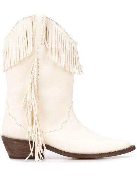 Кожаные белые ковбойские сапоги на каблуке P.a.r.o.s.h.