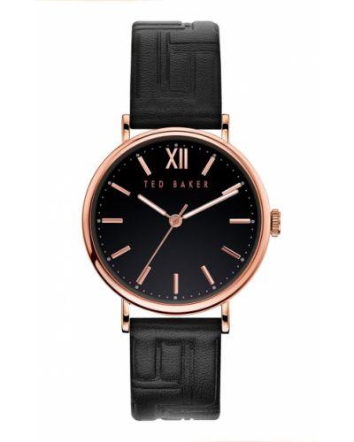 Czarny zegarek kwarcowy skórzany z paskiem Ted Baker