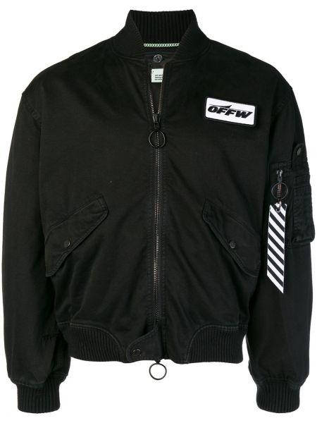 Bawełna z rękawami czarny długa kurtka z kieszeniami Off-white