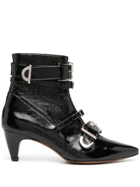 Черные кожаные ботильоны с пряжкой на каблуке Alexa Chung